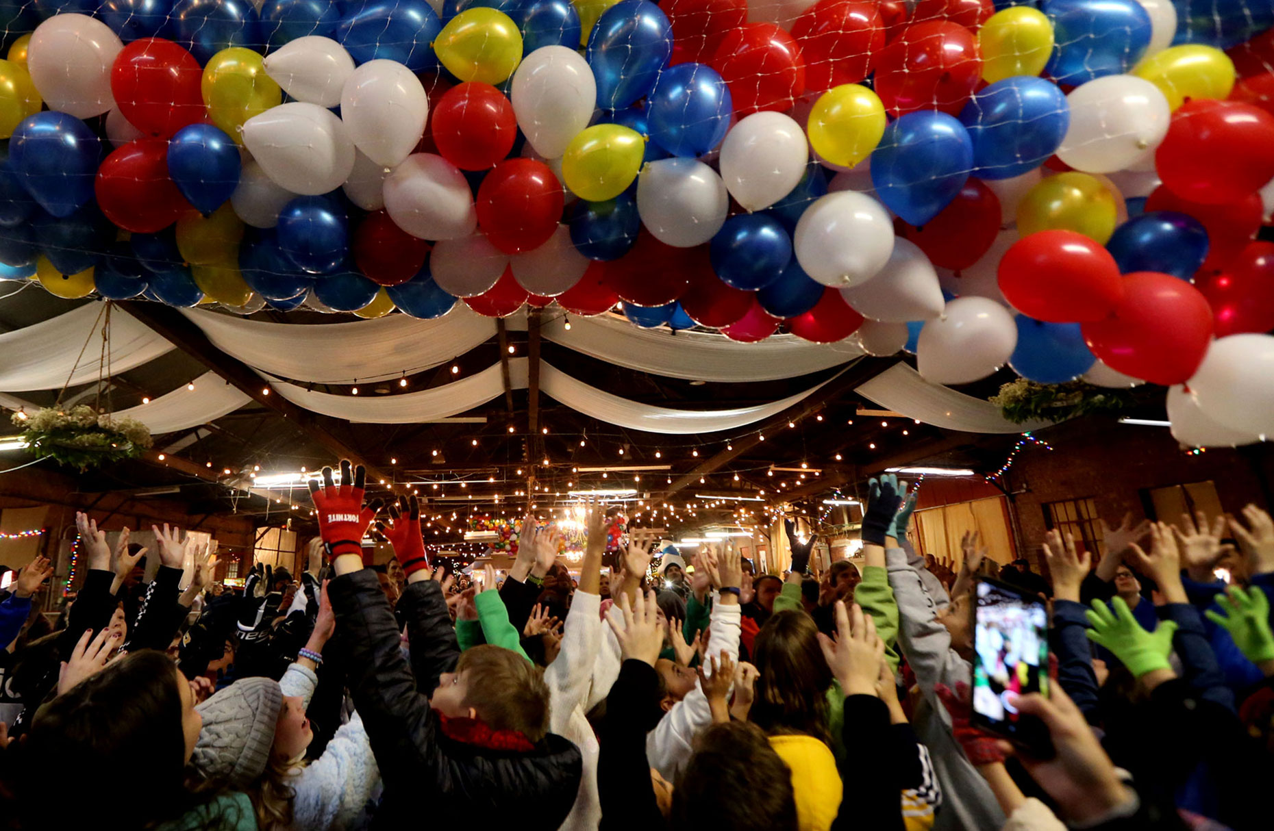 2020 balloons drop to welcome new year