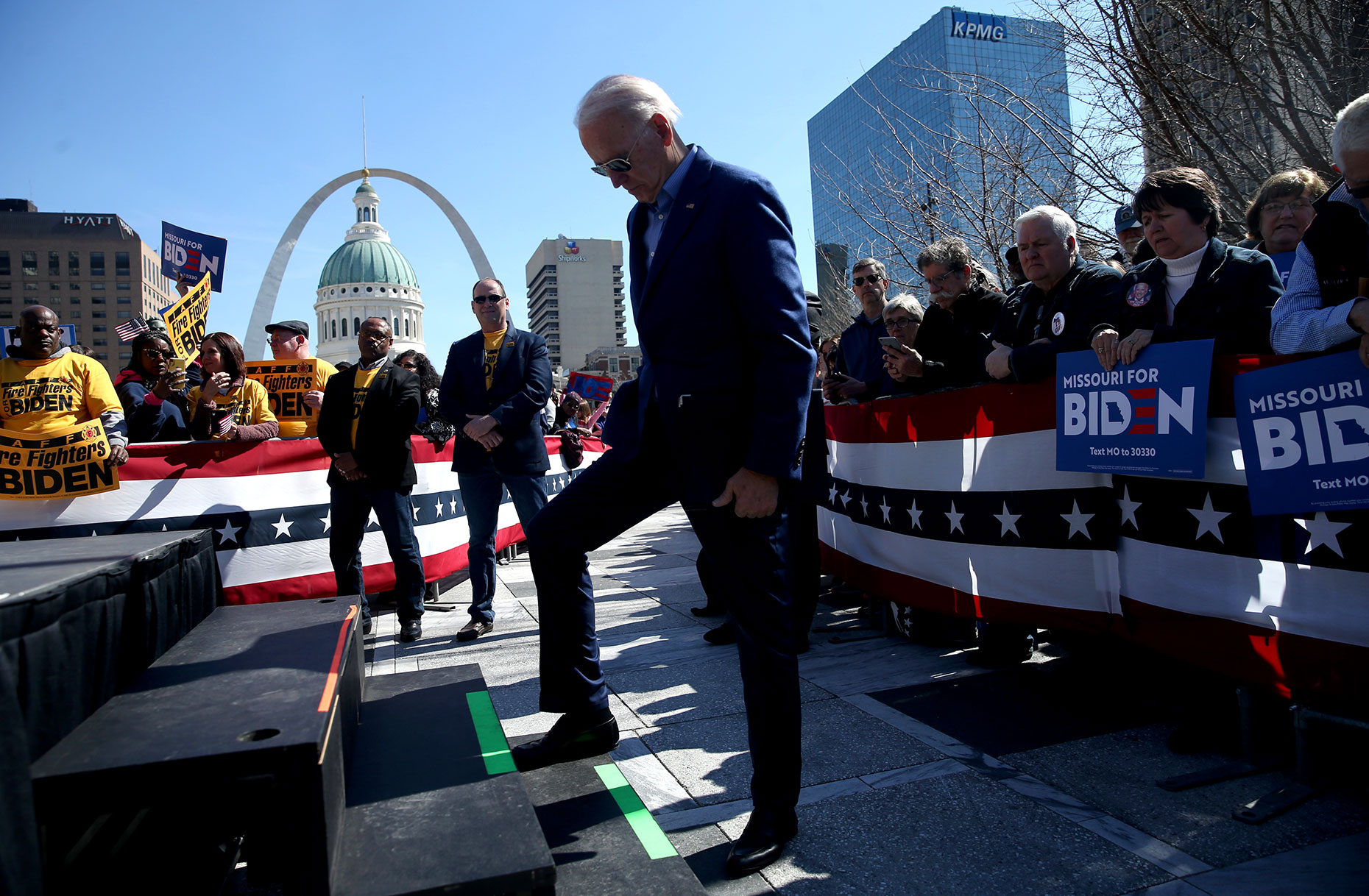 Democratic presidential candidate former Vice President Joe Biden stumps at Keiner Plaza